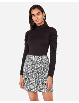High Waisted Textured Leopard Mid Thigh Skirt by Express