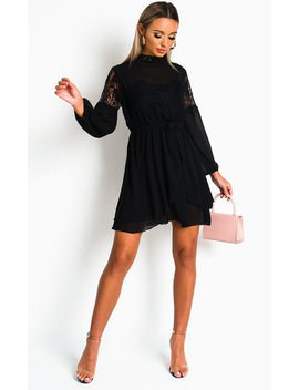 Lanah Lace Shift Dress In Black by Ikrush