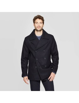 Men's Standard Fit Pea Coat   Goodfellow & Co™ Deep Navy by Goodfellow & Co