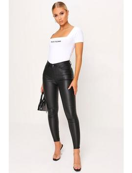 Black Coated Button Front Skinny Jeans by I Saw It First