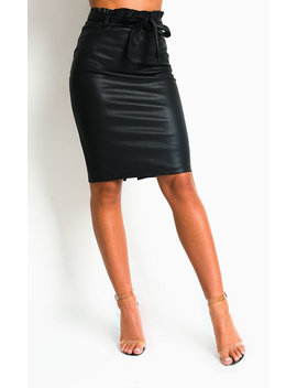 Zander Faux Leather Midi Skirt In Black by Ikrush