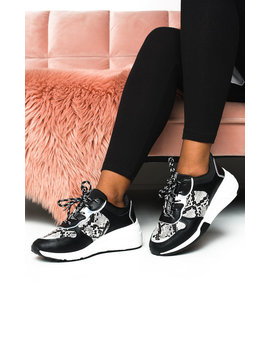 Bethan Chunky Printed Trainers In Black by Ikrush