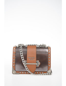 Leather Cahier Shoulder Bag With Studs Applied by Prada