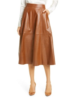 Topstitch Detail Leather Skirt by Polo Ralph Lauren