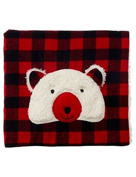Buffalo Check Blanket With Bear by Indigo Baby