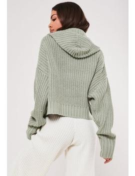 Premium Green Chunky Knitted Hoodie by Missguided