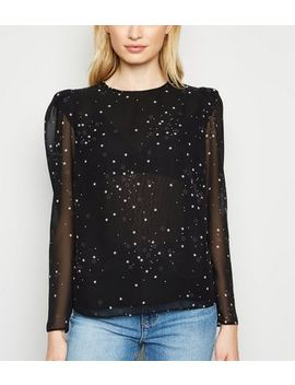 Black Star Print Puff Sleeve Blouse by New Look