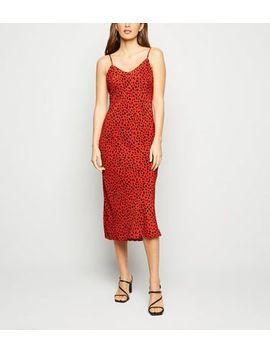 Red Leopard Print Midi Slip Dress by New Look