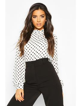 Polkadot High Neck Blouse by Boohoo