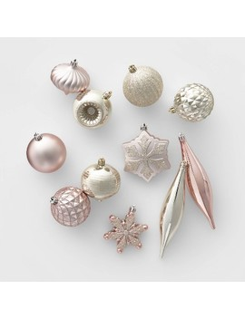 40ct Shatter Resistant Christmas Ornament Set Champagne And Blush   Wondershop™ by Shop Collections