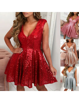 Womens Sequins Glitter Mini Dress Ladies Sexy Cocktail Party Prom Skater Dresses by Ebay Seller