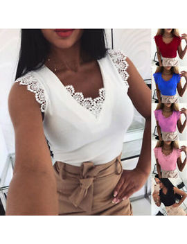 Women Ladies Sexy Lace V Neck Lace Vest T Shirt Summer Sleeveless Tops Blouse by Ebay Seller