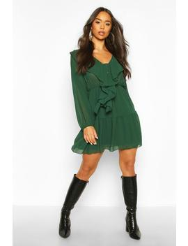 Chiffon Ruffle Front Smock Dress by Boohoo