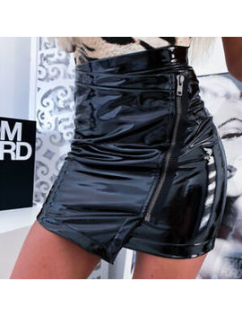 Womens Wet Look High Waist Zipper Skirt Ladies Faux Leather Bodycon Mini Dress by Ebay Seller