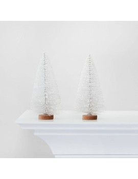 2pc Bottle Brush Trees Decorative Figurine White   Wondershop™ by Shop Collections