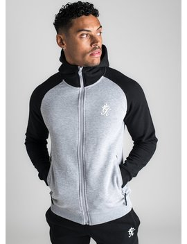 Gk Basis Contrast Raglan Tracksuit Top   Black/Grey Marl by The Gym King