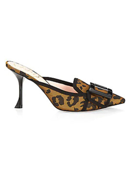 Rv Resin Buckle Leopard Print Mules by Roger Vivier