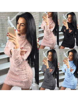 Women Winter Long Sleeve Fluffy Sweater Tops Ladies Party Bodycon Jumper Dress by Ebay Seller