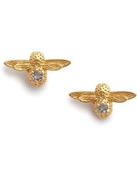 3 D Bee Stud Earrings Gold & Blue Zircon by Olivia Burton