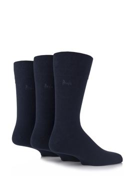 Mens 3 Pair Pringle Dunvegan Comfort Cuff Plain Cotton Socks by Sock Shop