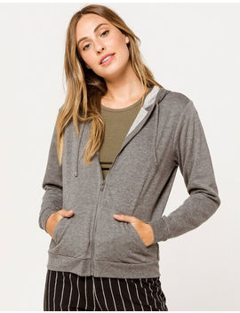 Full Tilt Zip Up Charcoal Womens Hoodie by Full Tilt