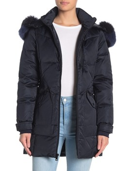 Genuine Fox Fur Trimmed Hooded Parka by 1 Madison