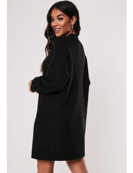 Black High Neck Ribbed Knitted Dress by Missguided