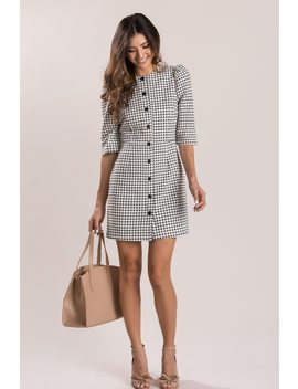 Susanne Black Gingham Button Dress by Morning Lavender