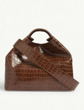 Raisin Croc Embossed Leather Shoulder Bag by Elleme
