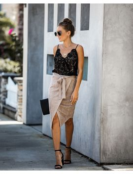 Hercules Faux Suede Wrap Skirt   Taupe by Vici