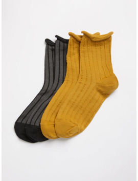 2 Pack Striped Frilly Socks In Multi by Frank & Oak