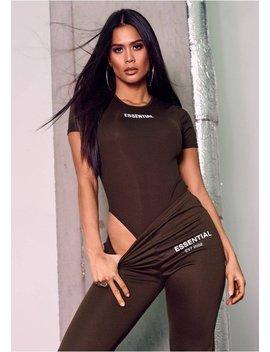 Greta Brown Essential Slogan Ribbed T Shirt Bodysuit by Missy Empire