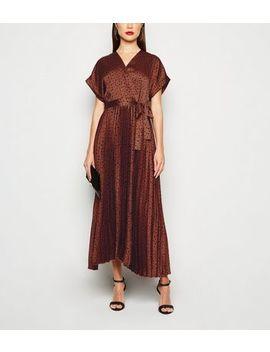 Rust Satin Spot Pleated Midi Dress by New Look