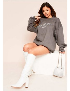 Lotta Charcoal Woman Slogan Oversized Sweatshirt by Missy Empire