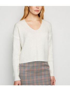 Off White Ribbed V Neck Crop Jumper by New Look