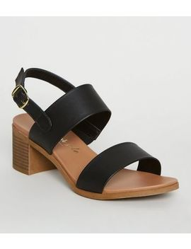 Black 2 Strap Block Heel Footbed Sandals by New Look