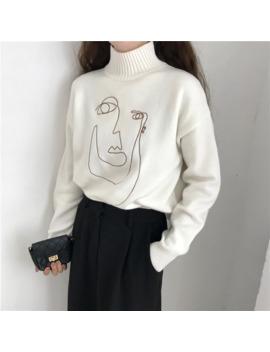 Geometric Face Winter Turtleneck Women Pullover Sweater Long Sleeve Loose Female Knitting Jumper Sweater Slim Ladies Sweater by Ali Express.Com