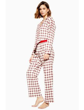 Red Check Woven Pyjama Trousers by Topshop