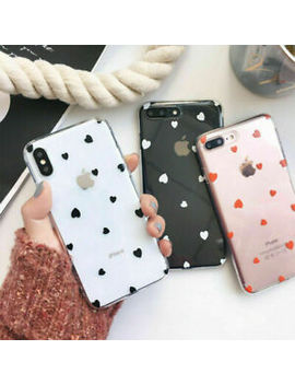 For I Phone 8 7 Plus X Xr Xs Max Case Slim Heart Pattern Soft Tpu Silicone Cover by Ebay Seller