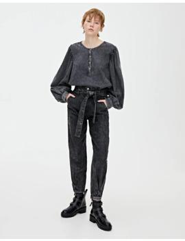 Schwarze Jeans Im Slouchy Fit Mit Gürtel by Pull & Bear