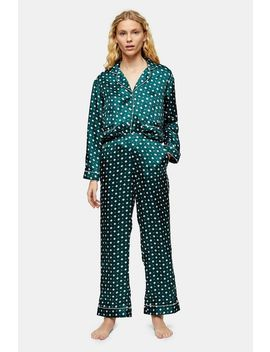 Green Tile Print Jacquard Pyjama Trousers by Topshop