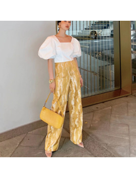 Lanmrem 2019 New Summer Fashion Women Clothes High Waist Street Wear Embroidery Straight Long Pants Female Trousers Wg59500 L by Ali Express.Com