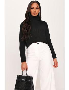 Black Cropped Roll Neck Jumper by I Saw It First