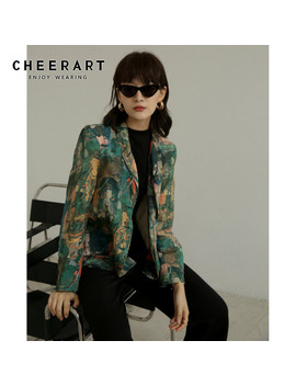 Cheerart Green Buddha Print Women Blazers And Jackets High Fashion Ladies Blazer Long Sleeve Coat 2019 Autumn Clothes by Ali Express.Com