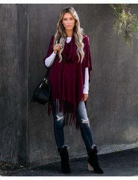 Novia Fringe Knit Poncho   Merlot by Vici