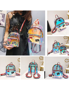New Fashion Girl Clear Transparent See Through Pvc Mini Backpack School Book Bag Laser Jelly Transparent Backpack by Ali Express.Com