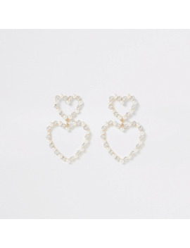 Gold Embellished Double Heart Drop Earrings by River Island