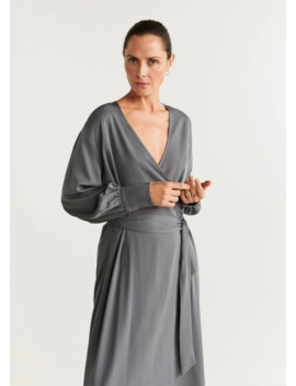 Φόρεμα κρουαζέ ζώνη by Mango