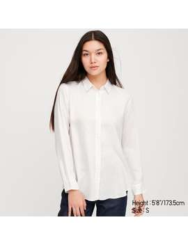 Rayon Printed Long Sleeve Blouse by Uniqlo