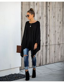 Hostess With The Mostest Knit Poncho   Black by Vici